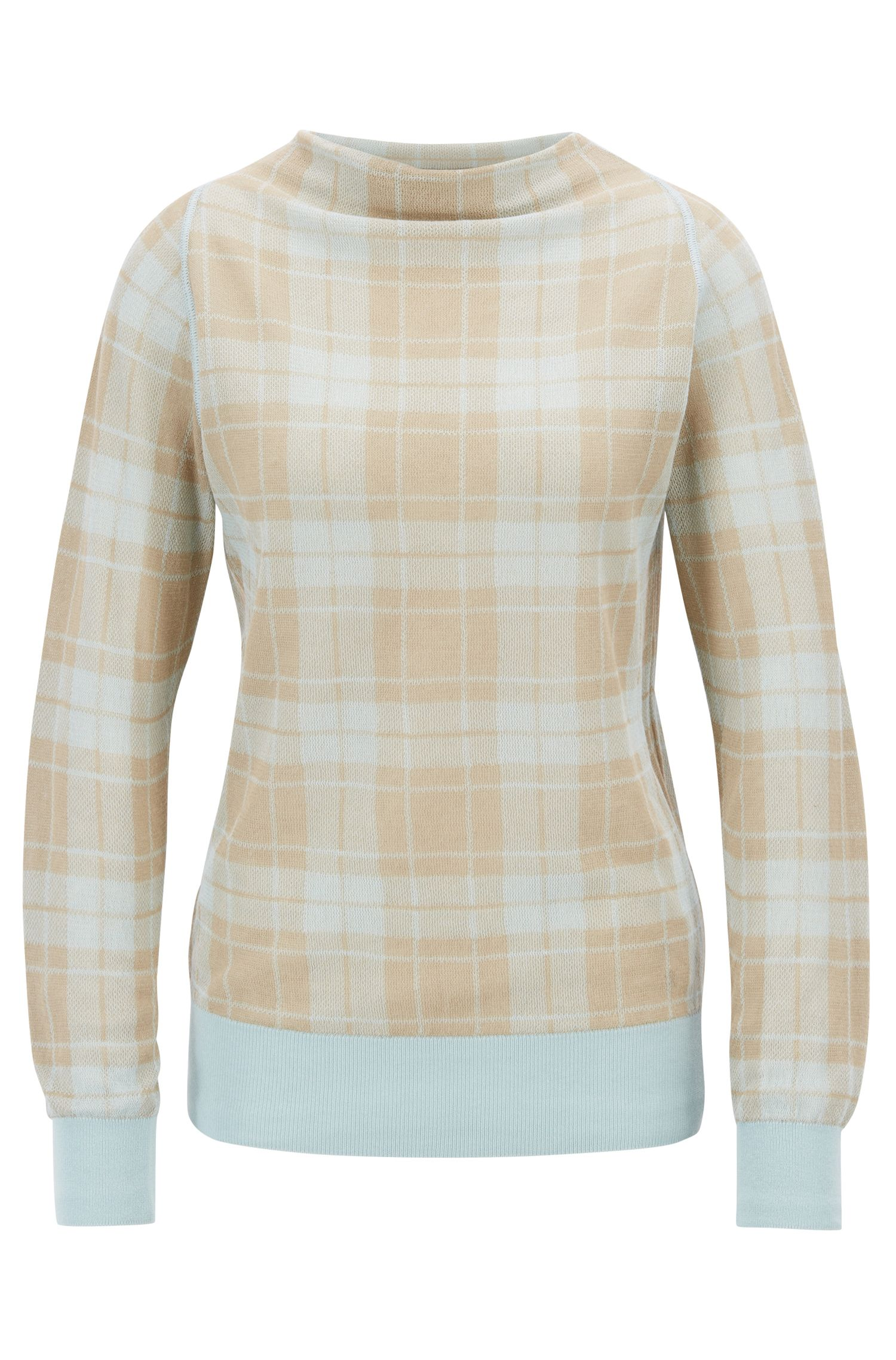 Knitted sweater in a checked cotton blend, Patterned