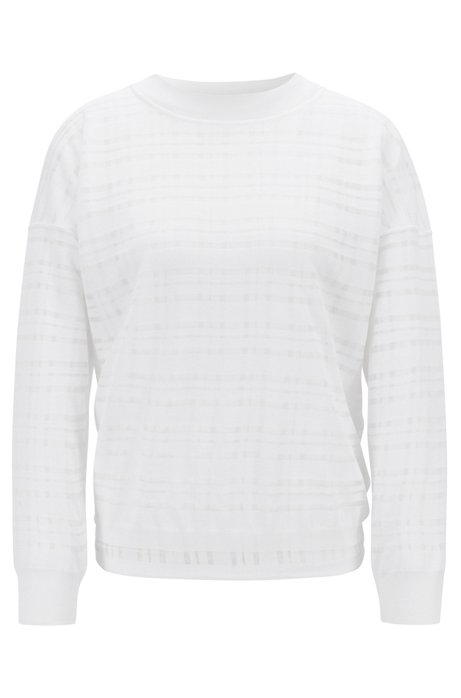 Relaxed-fit sweater with a double-layer check, White