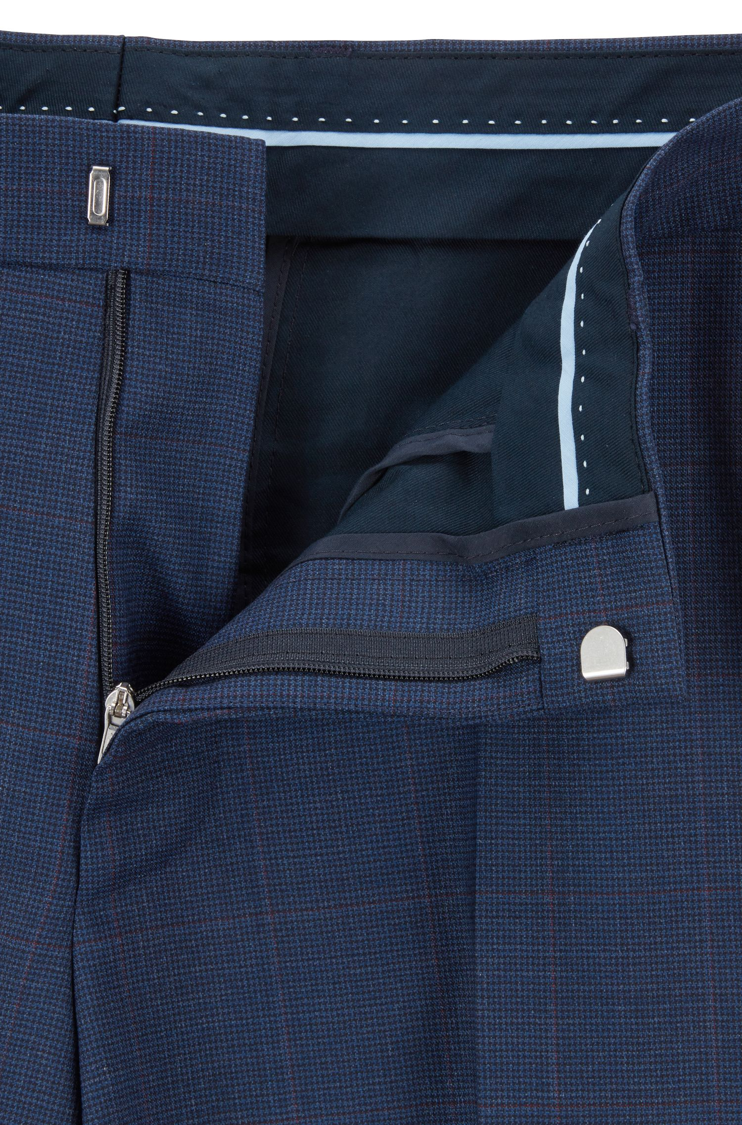 Regular-fit suit in checkered tropical wool, Open Blue