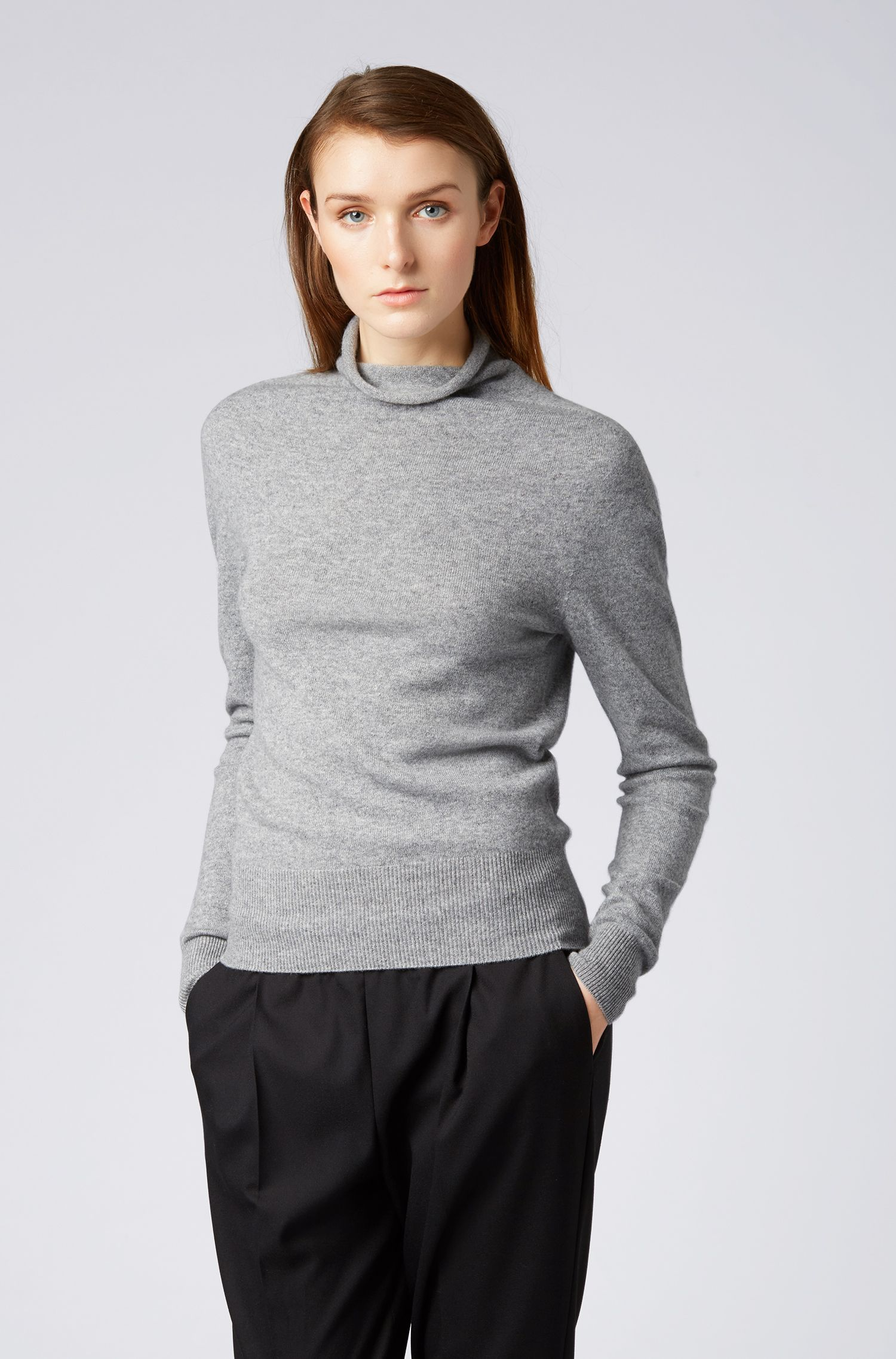 Funnel-neck sweater in pure cashmere with seamless construction, Grey