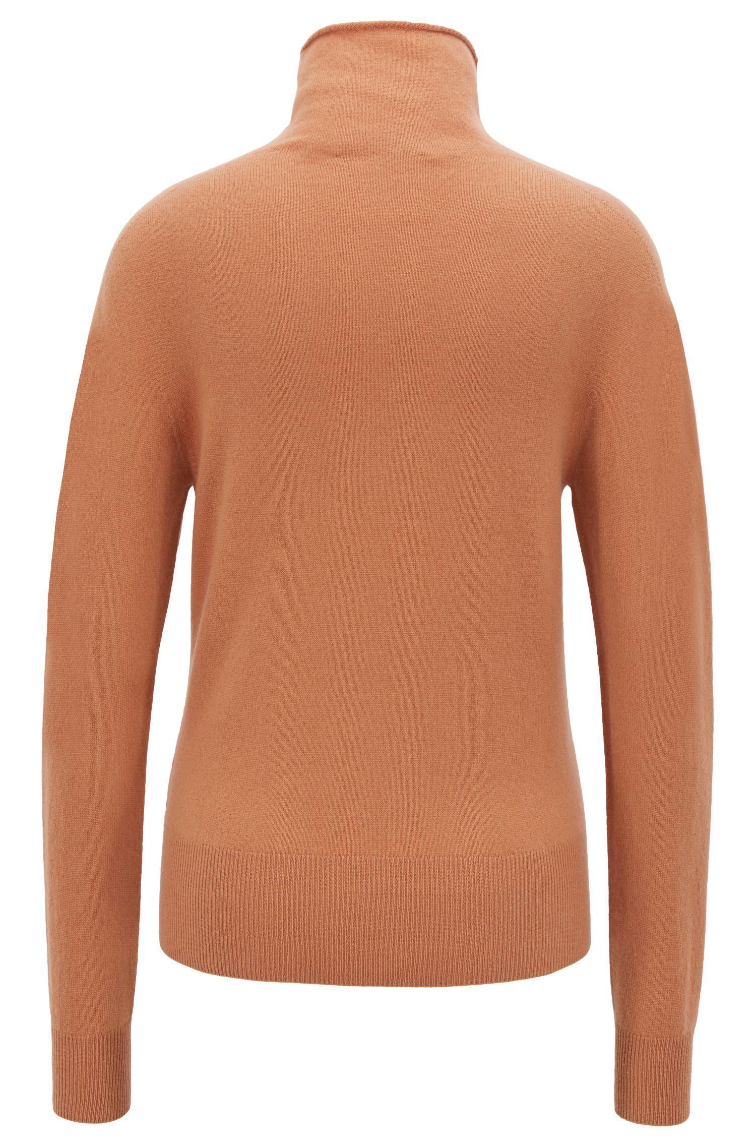 Funnel-neck sweater in pure cashmere with seamless construction, Brown