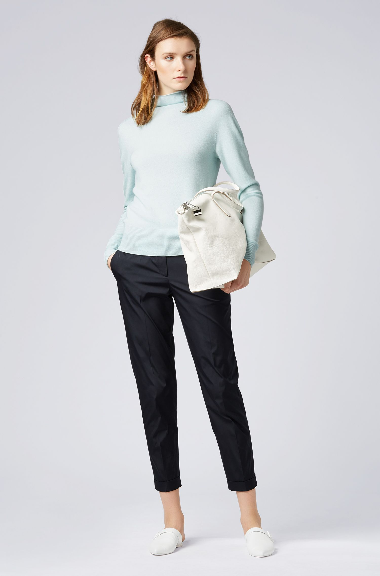 Funnel-neck sweater in pure cashmere with seamless construction, Open Blue