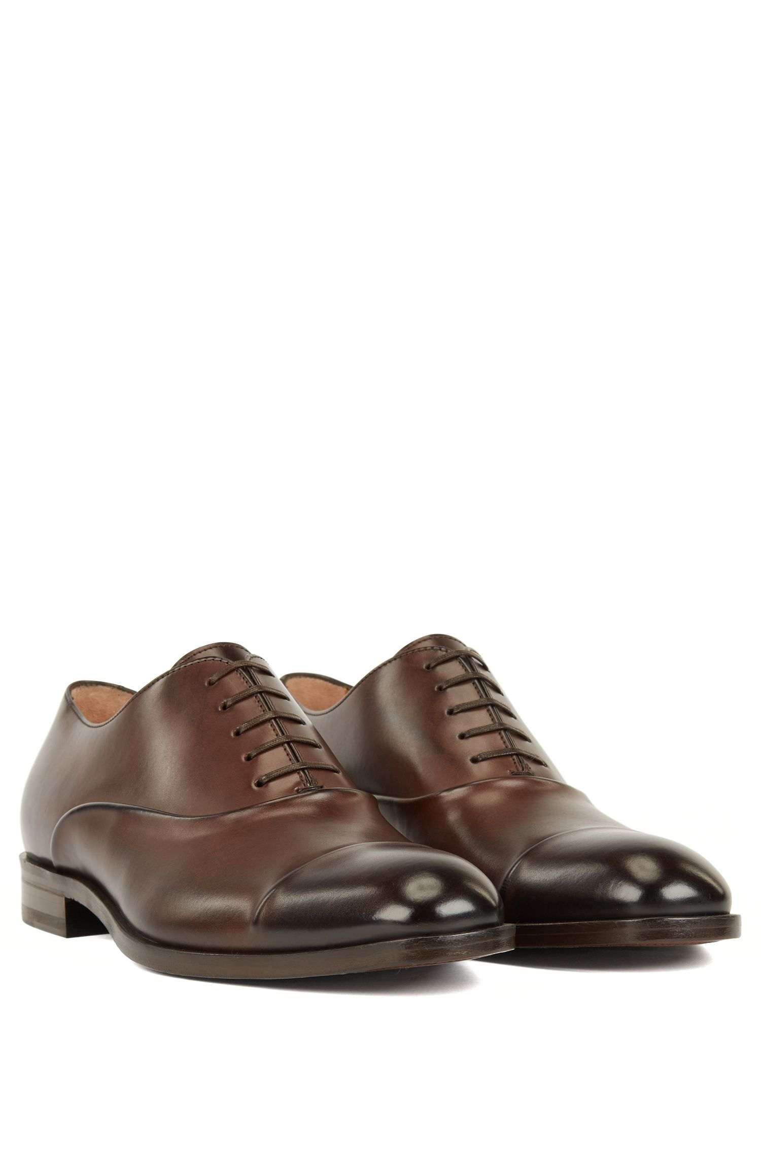 Italian-made Oxford shoes in vegetable-tanned calf leather, Dark Brown