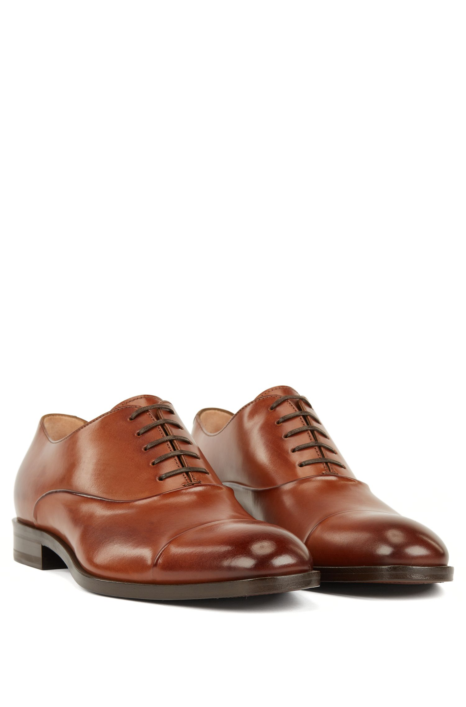 Italian-made Oxford shoes in vegetable-tanned calf leather, Brown