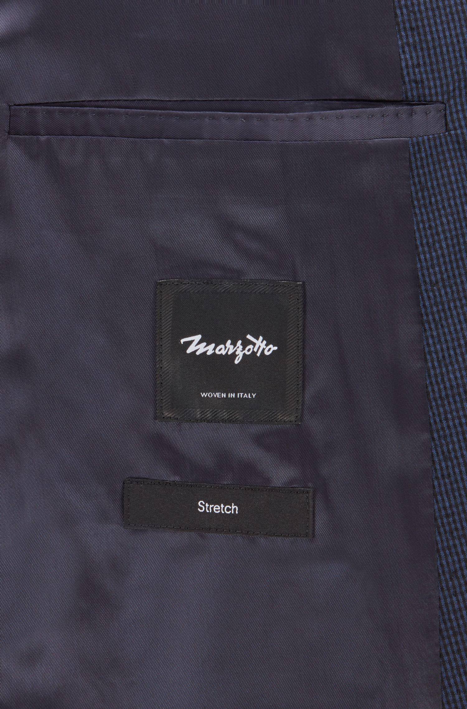 Slim-fit jacket in micro-patterned seersucker, Open Blue