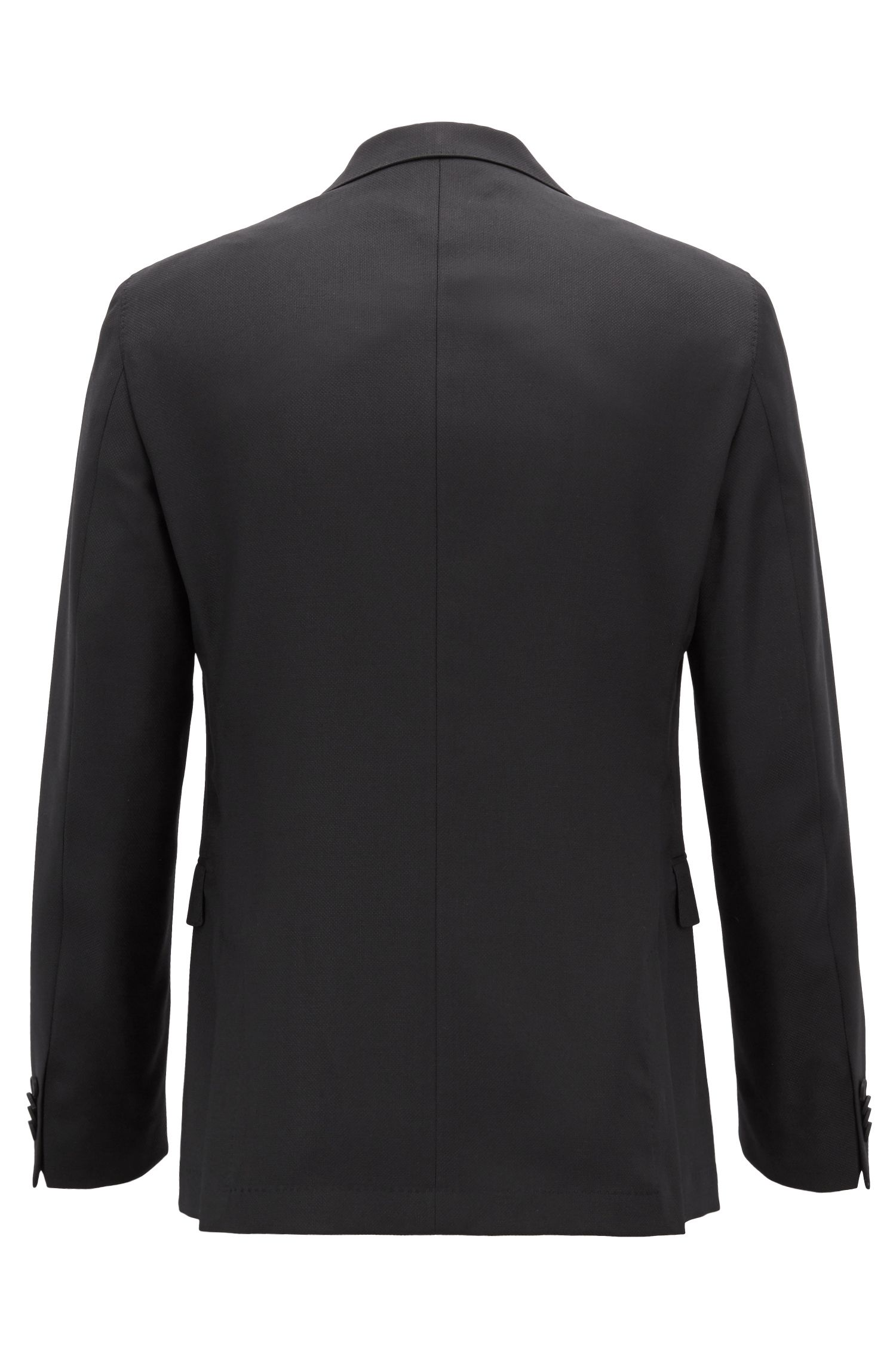 Slim-fit jacket in structured wool with AMF stitching, Black