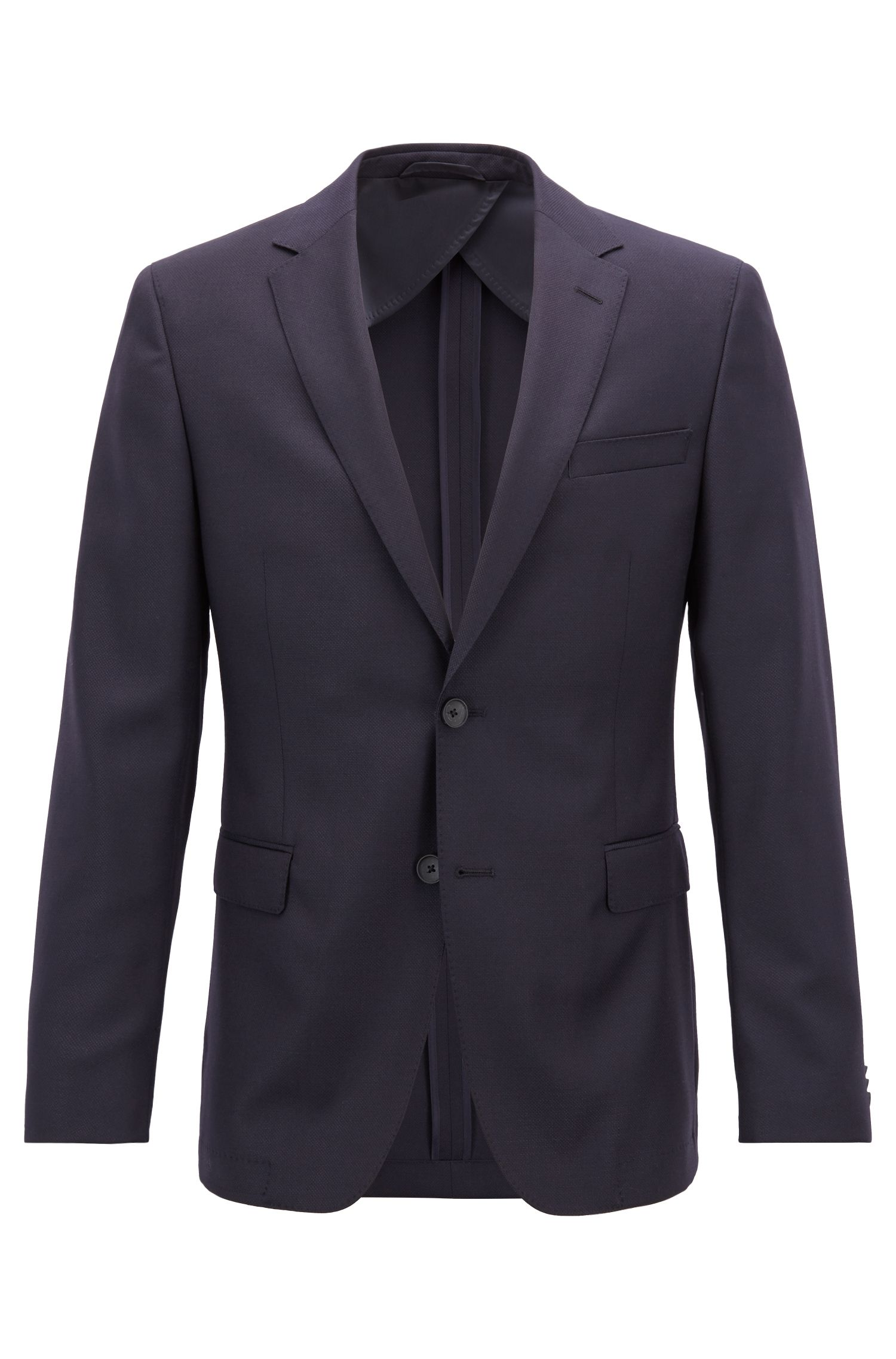 Slim-fit jacket in structured wool with AMF stitching, Dark Blue