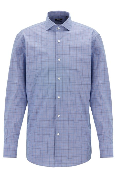 Sharp-fit shirt in Glen-checked dobby cotton, Open Blue