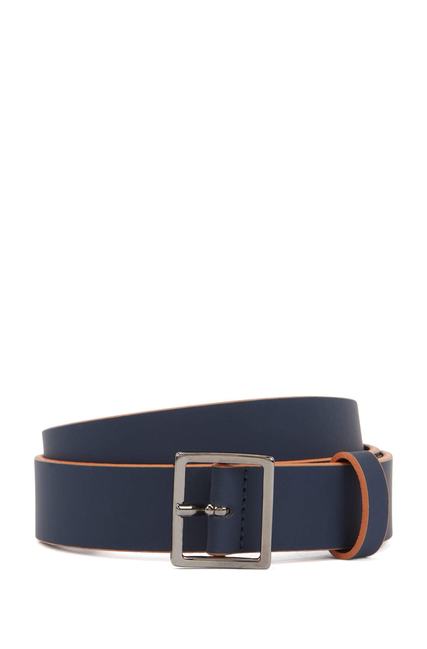 Bicolored belt in rubberized leather with square buckle, Dark Blue