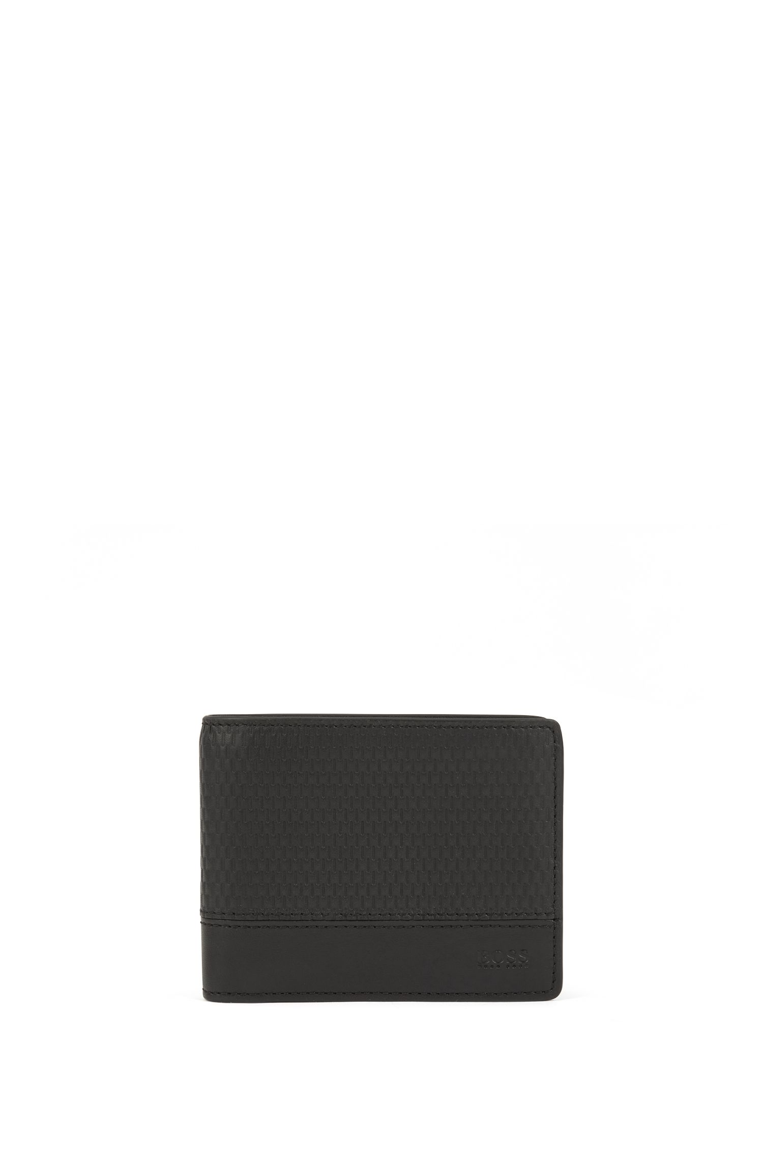 Billfold wallet in Italian leather with perforated detailing, Black