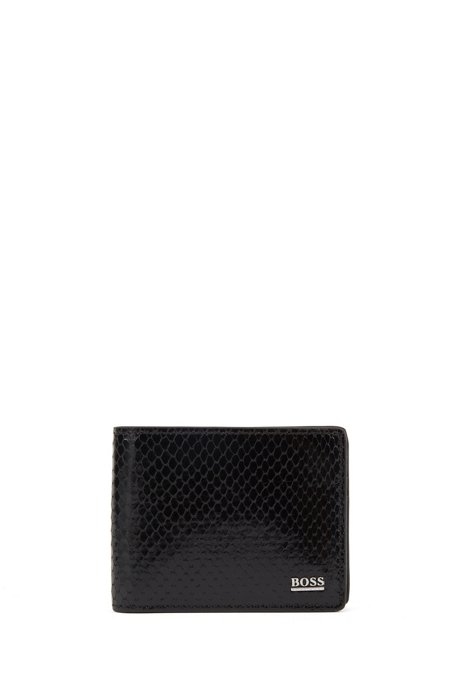 Billfold wallet in Italian leather with python-skin print, Black