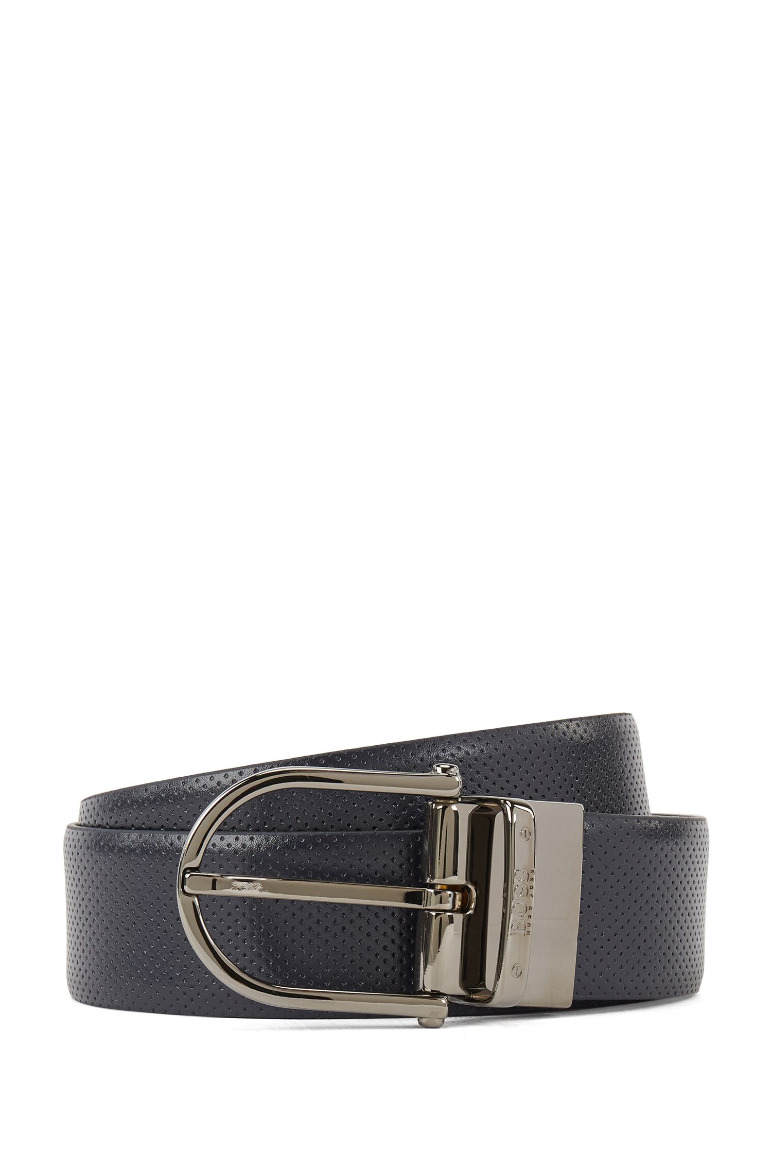 Reversible leather belt with double color option, Dark Blue