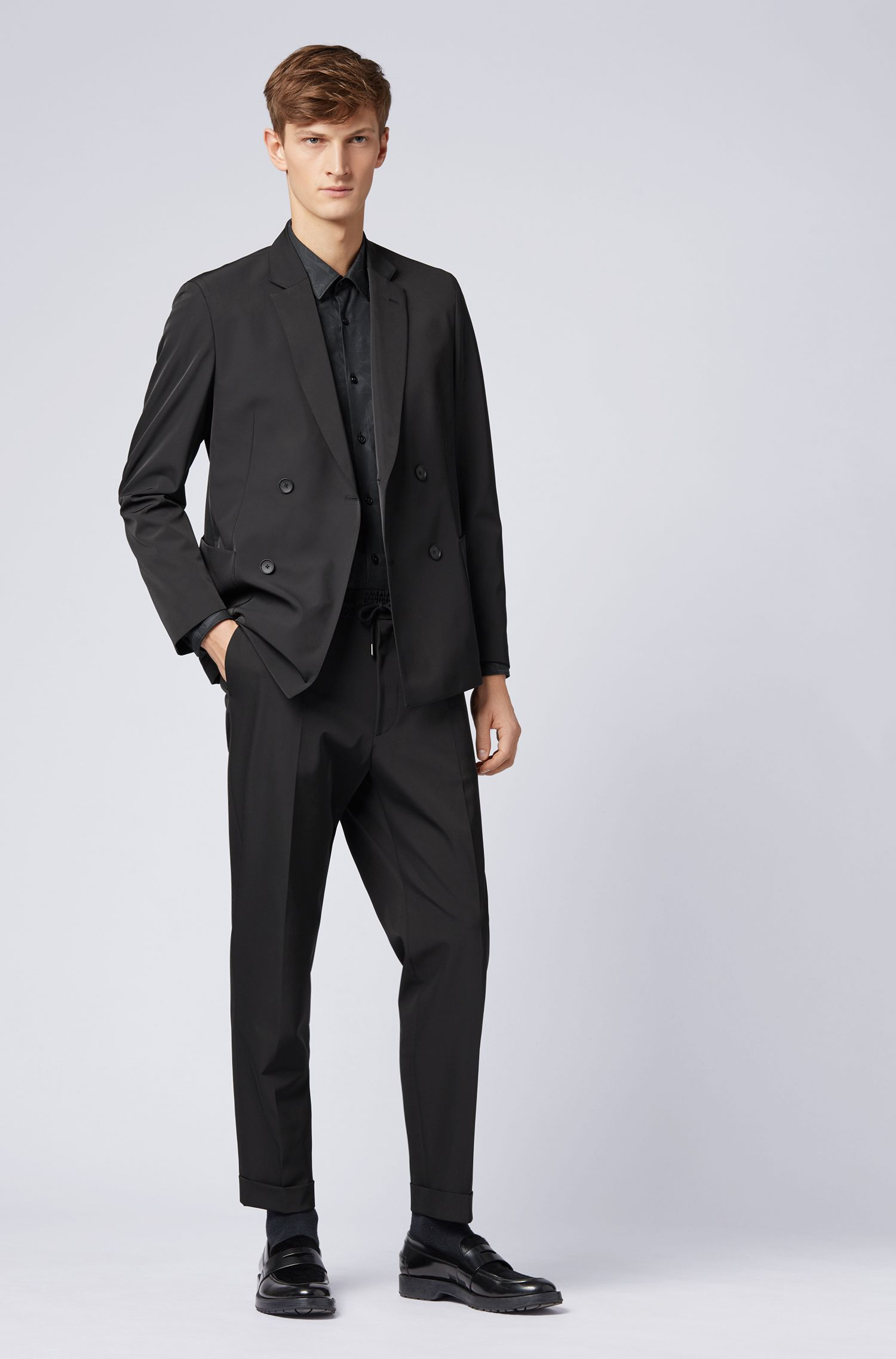Slim-fit blazer in double-breasted stretch fabric, Black