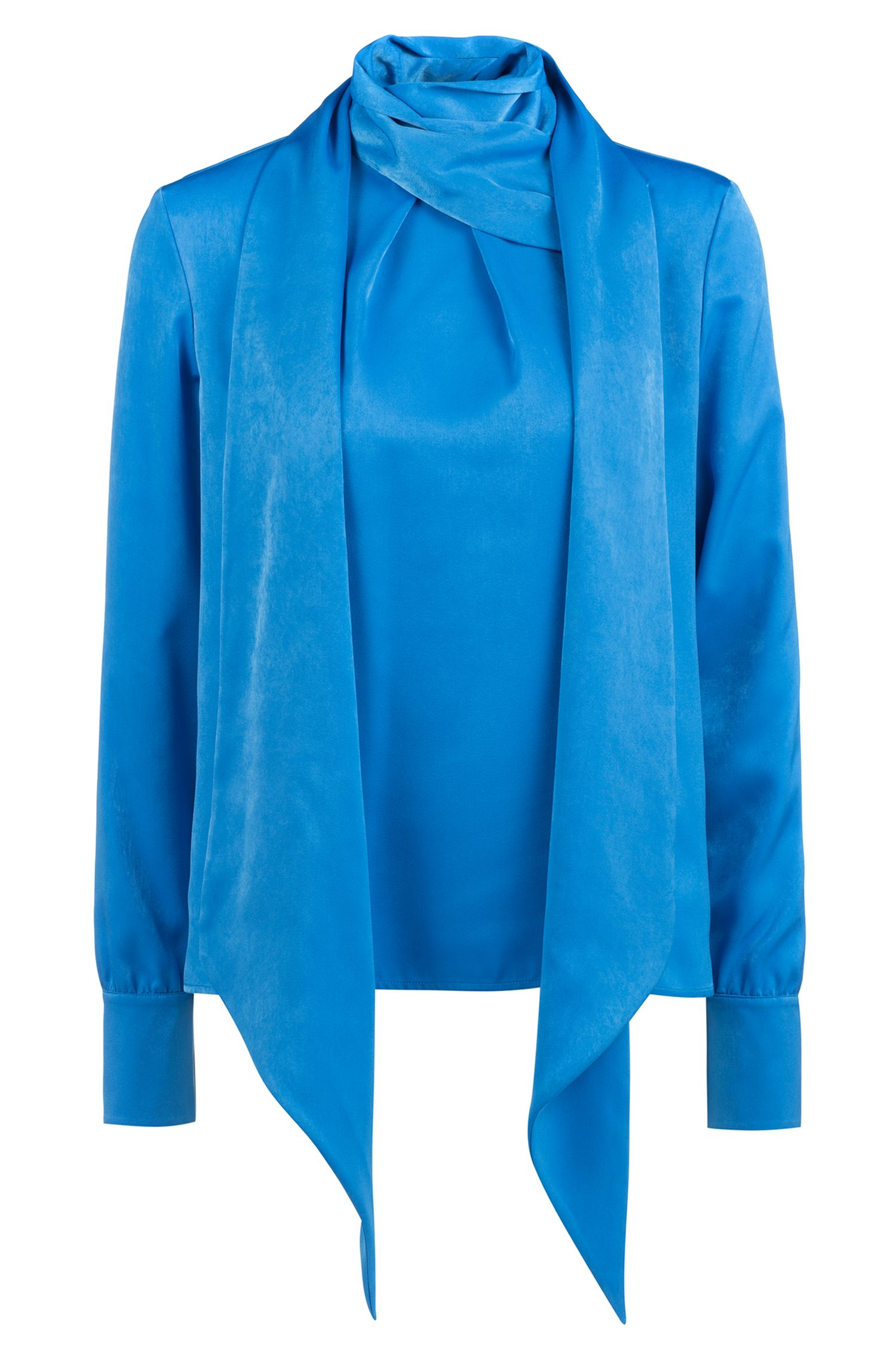 Long-sleeved top with tie neckline, Open Blue
