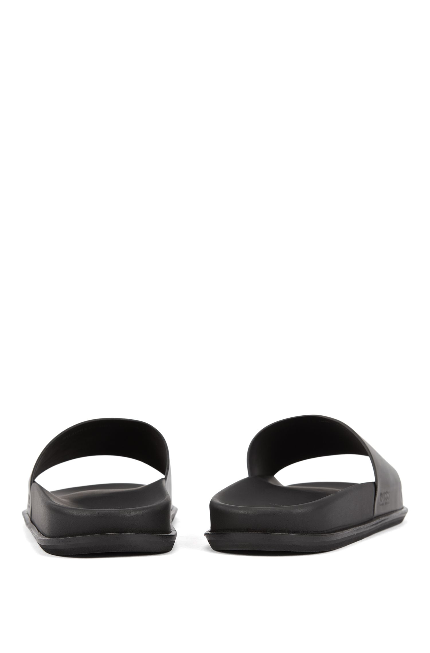 Italian-made slides in vegetable-tanned calf leather, Black
