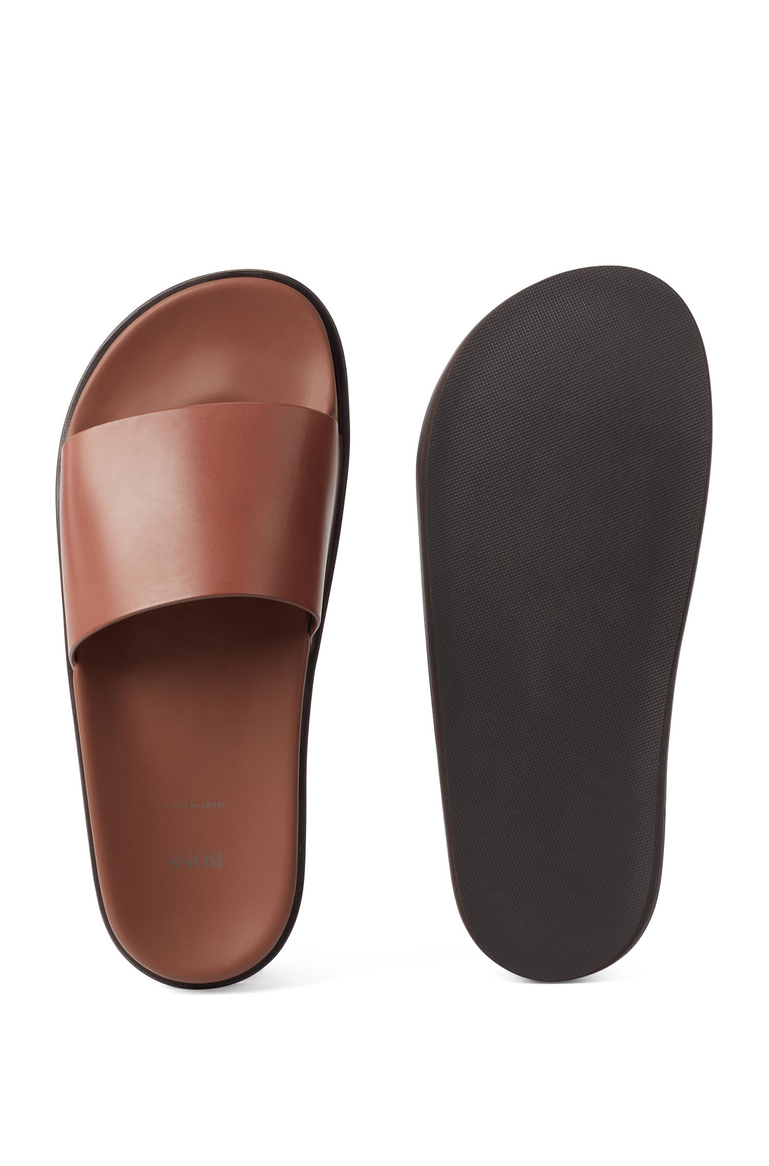 Italian-made slides in vegetable-tanned calf leather, Brown