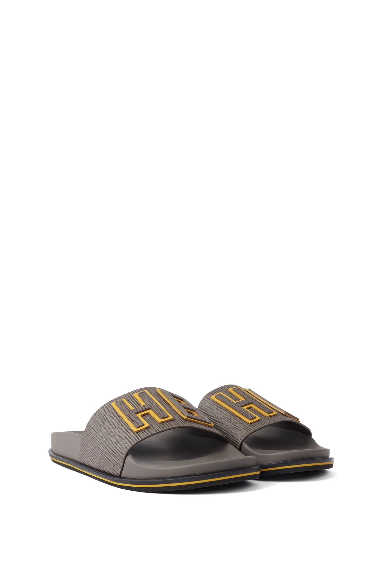 Italian-made slides in embossed leather with raised logo, Dark Grey
