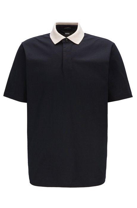 Contrast collar polo shirt in luminex cotton jersey, Dark Blue