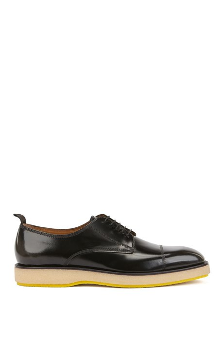 Italian-made Derby shoes in brush-off leather, Dark Grey