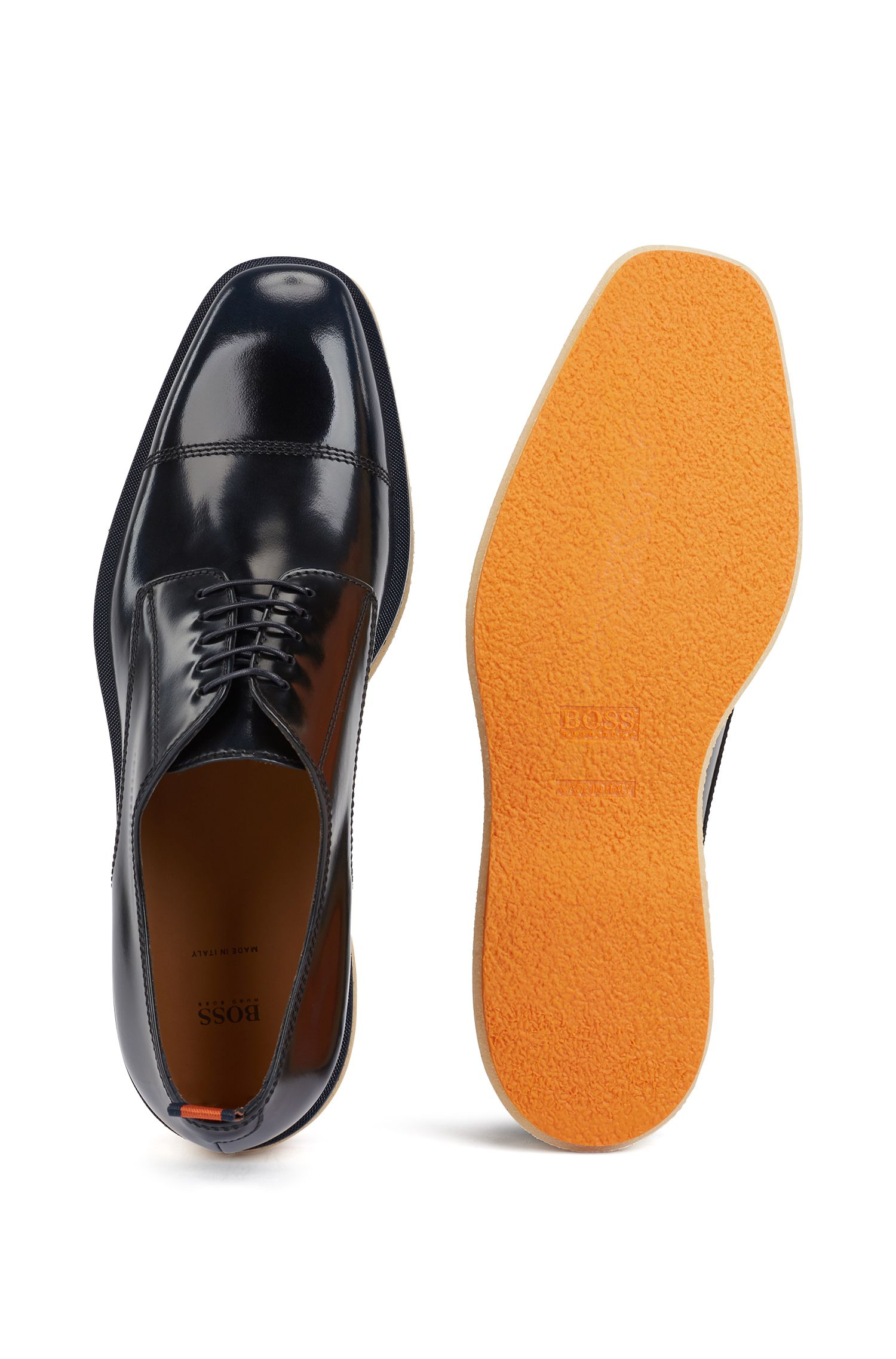 Italian-made Derby shoes in brush-off leather, Dark Blue