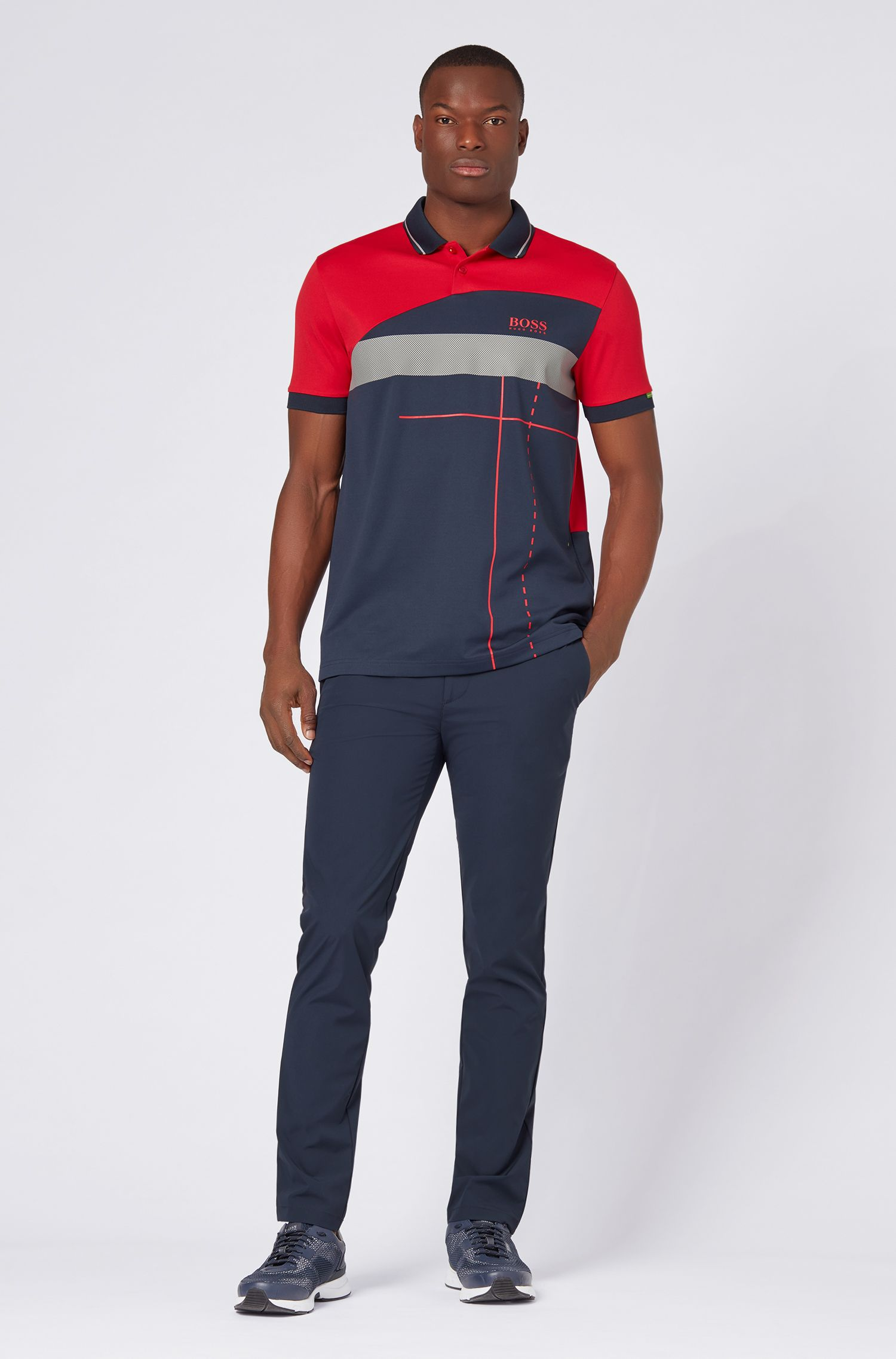 Slim-fit trousers in micro-structured stretch fabric, Dark Blue