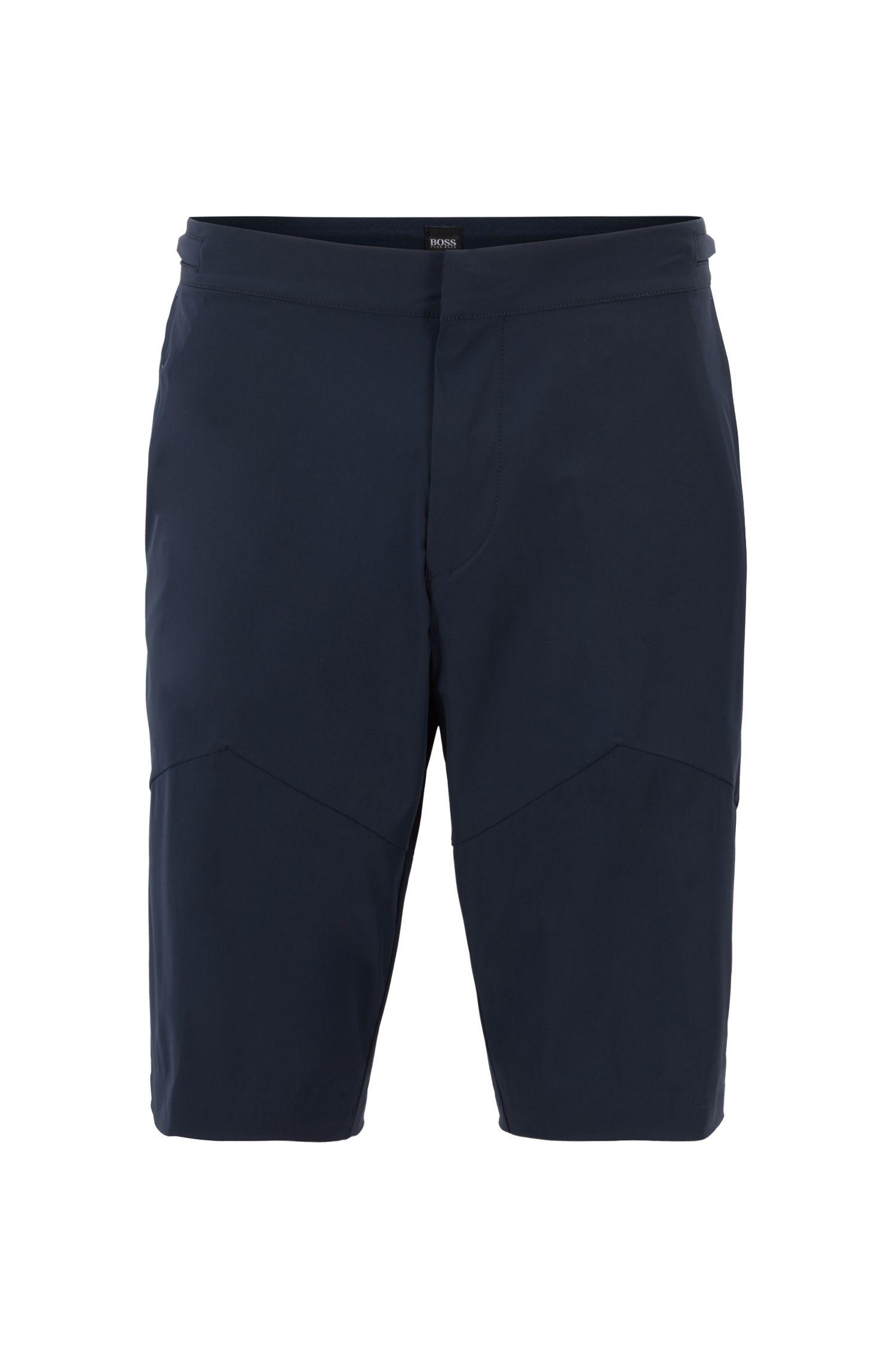 Multi-purpose slim-fit shorts in microstructured stretch fabric, Dark Blue
