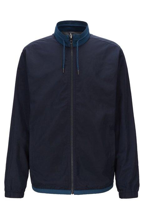 Reversible zip-through sweatshirt in jersey and nylon, Dark Blue