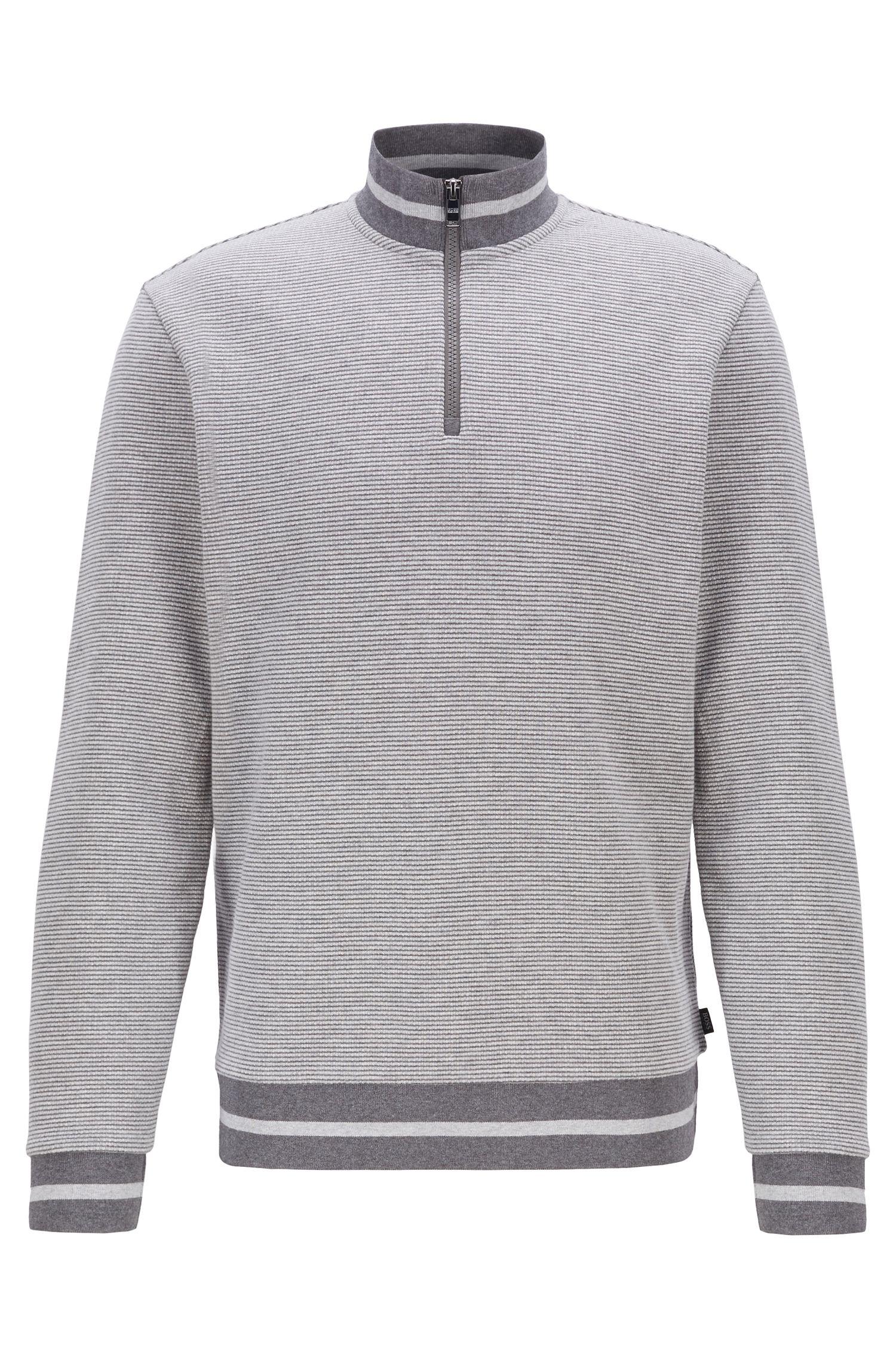 Zipper-neck sweatshirt with two-tone melange structure, Open Grey