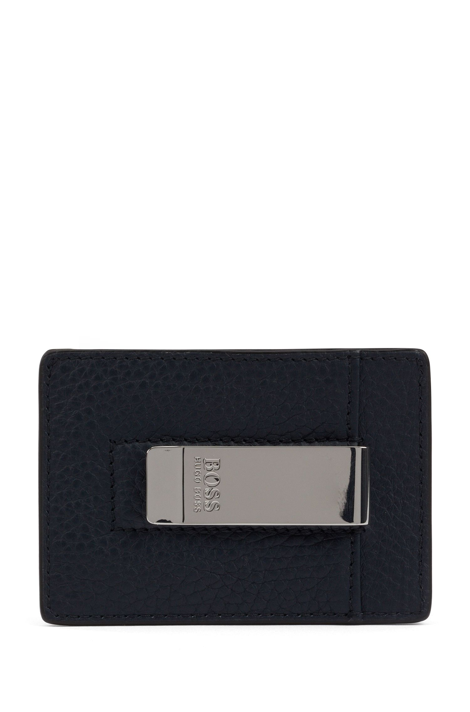 Card holder in Italian leather with metal money clip, Dark Blue