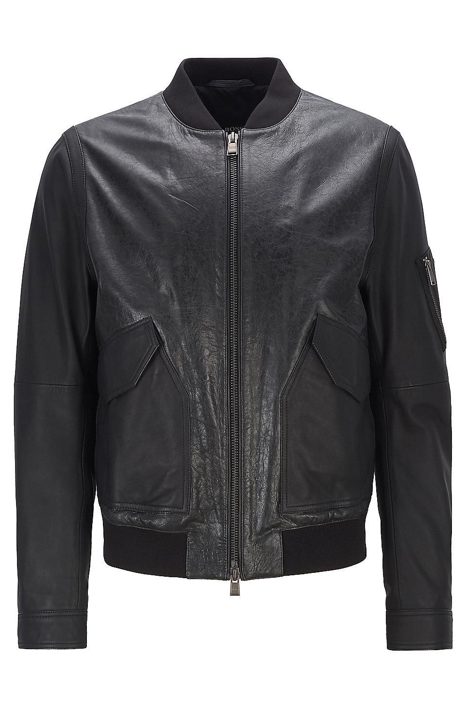5400b17f9 BOSS - Bomber jacket in mixed nappa leather