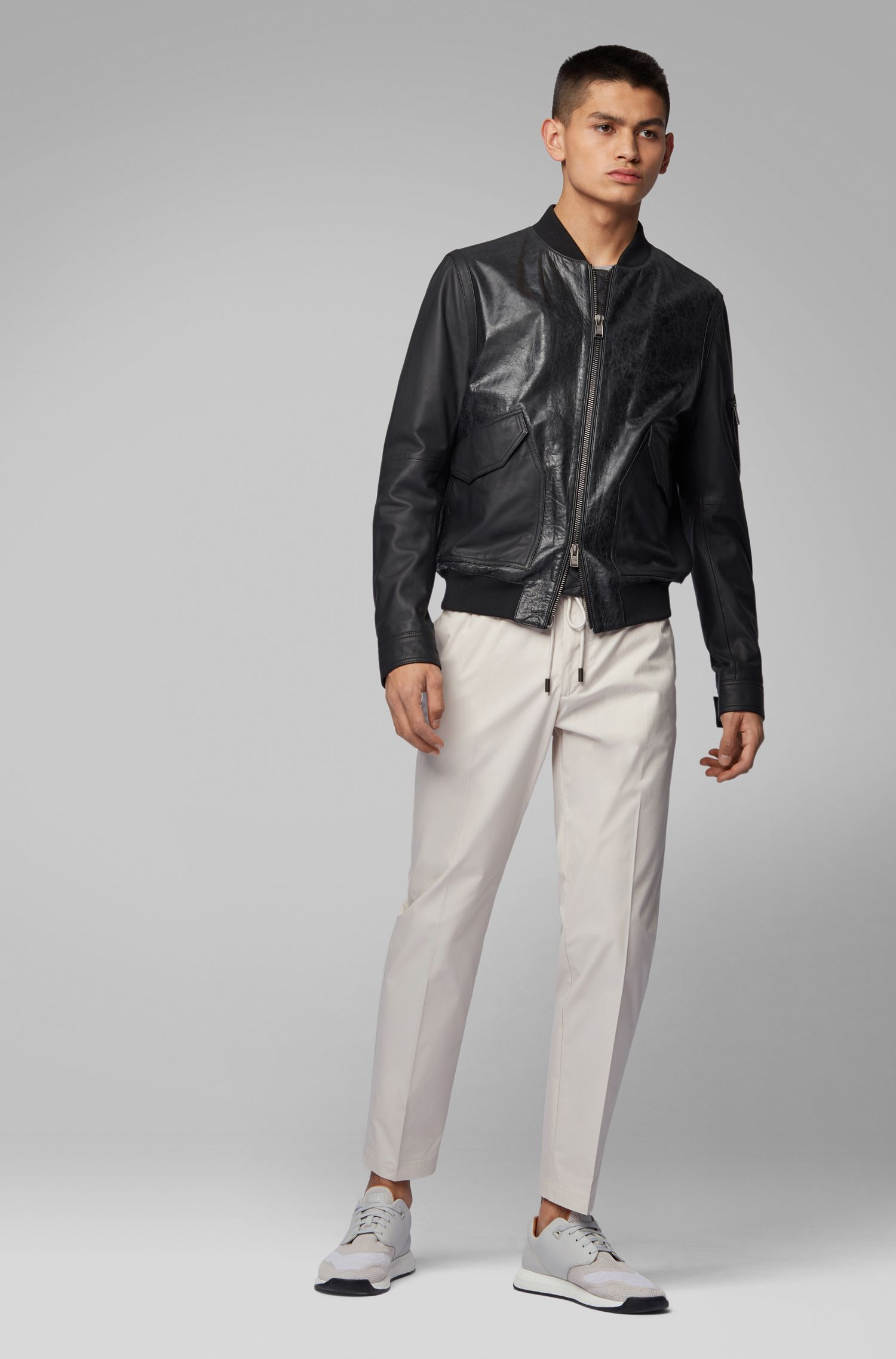 Bomber jacket in mixed nappa leather, Black