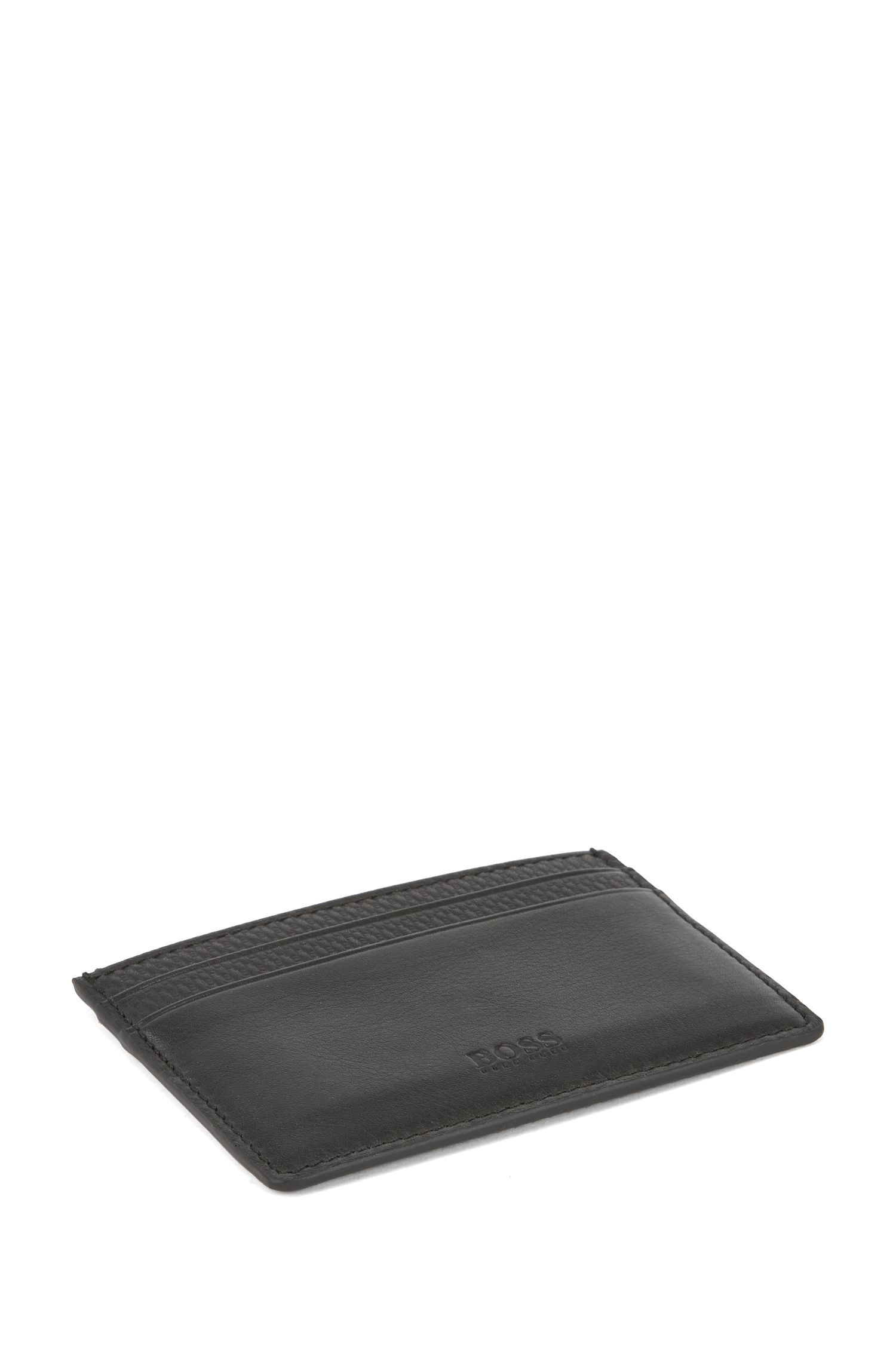 Gift-boxed billfold wallet and card holder in leather, Black