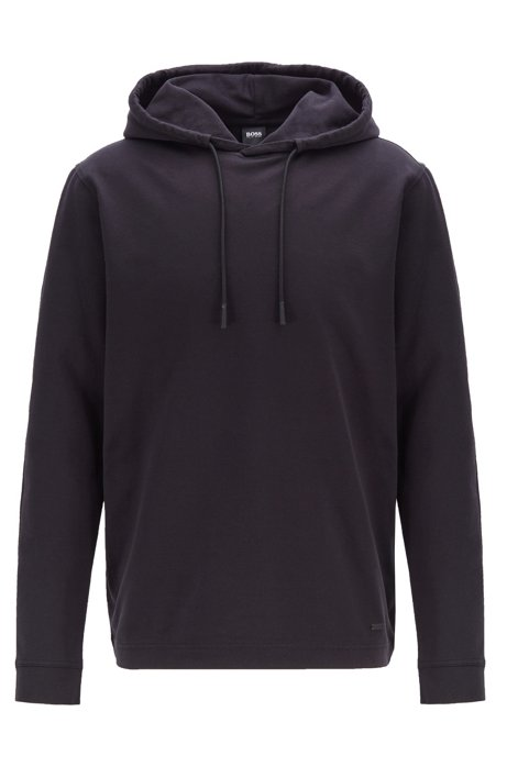 Relaxed-fit hooded T-shirt in cotton with long sleeves, Black