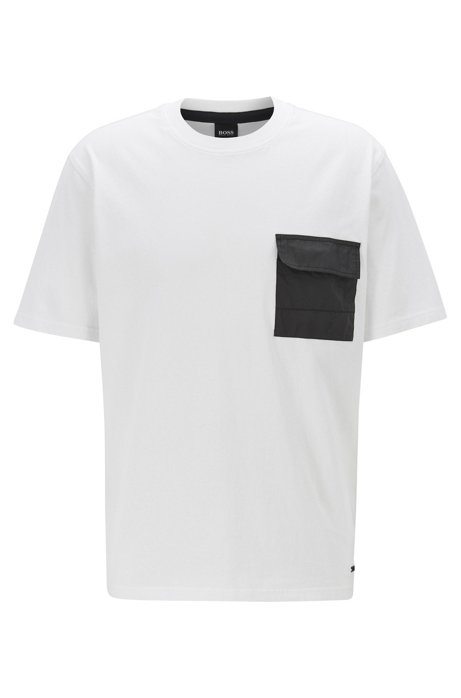 Relaxed-fit T-shirt in cotton jersey with Tyvek® pocket, White