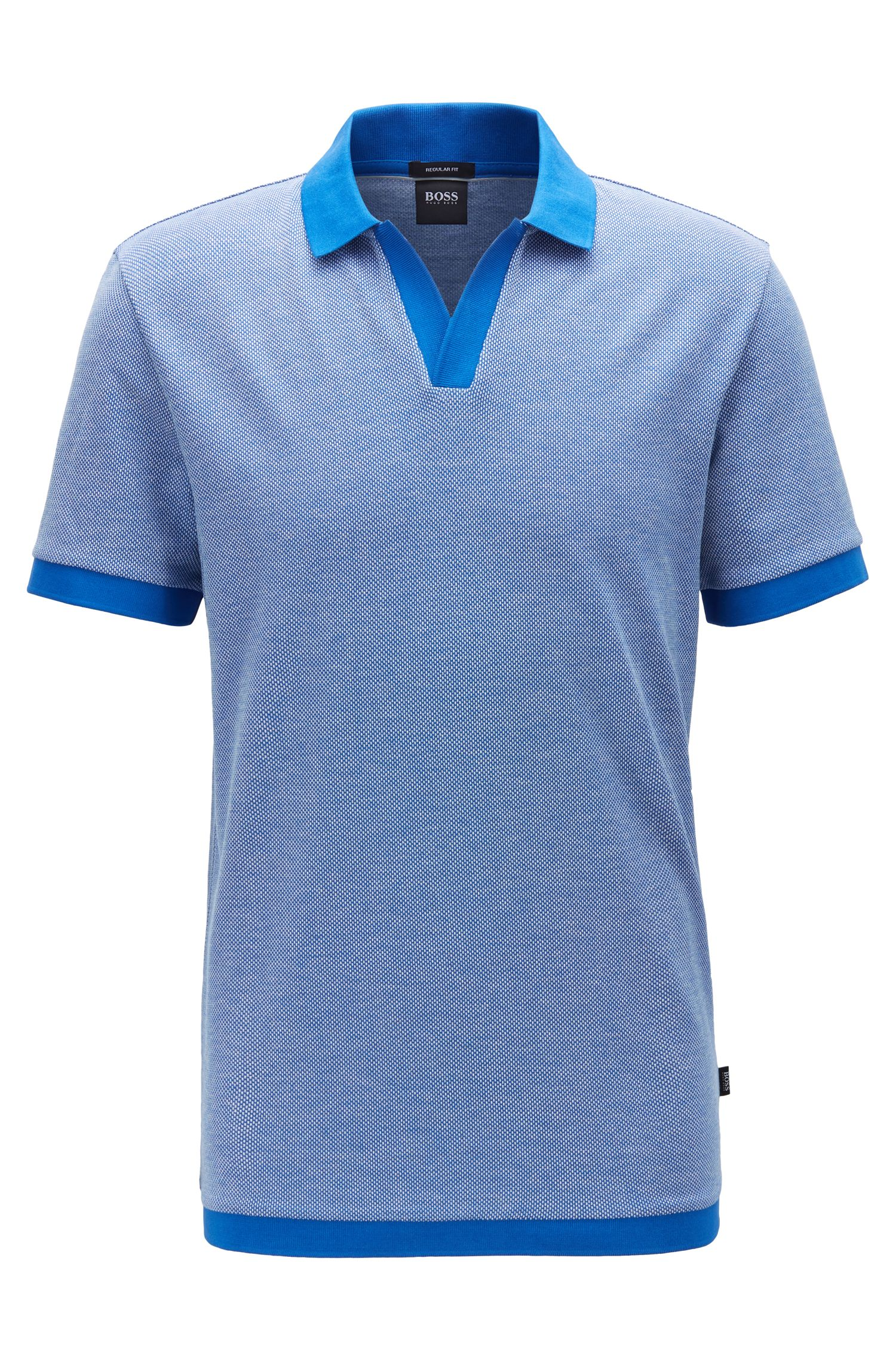 Cotton-jacquard polo shirt with Johnny collar, Blue