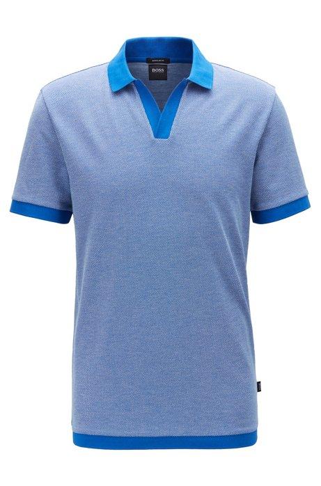 Cotton-jacquard polo shirt with Johnny collar, Blue