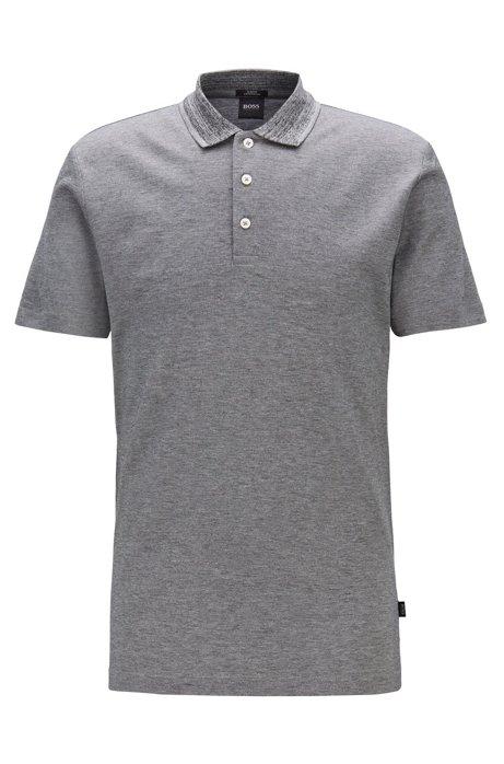Slim-fit polo shirt in mercerized mouliné cotton, Silver