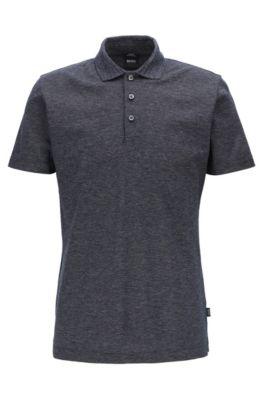 Slim-fit polo shirt in mercerized mouliné cotton, Dark Blue