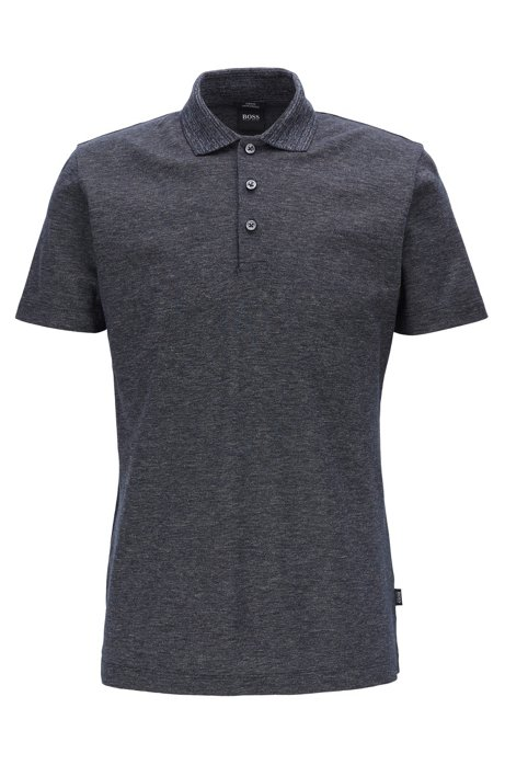 Slim-fit polo shirt in mercerized mouliné cotton, Dark Blue