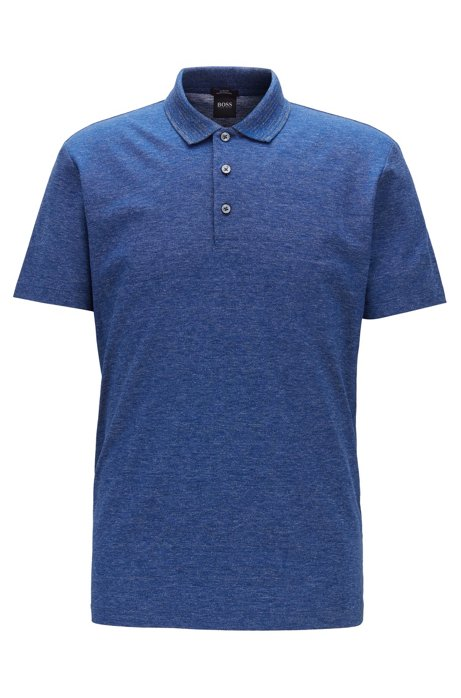 Slim-fit polo shirt in mercerized mouliné cotton, Blue