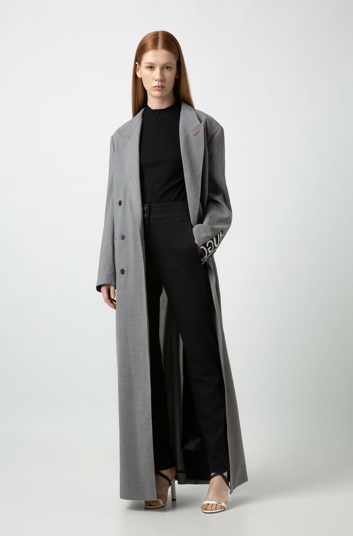 Fashion Show relaxed-fit double-breasted coat with waist detail, Silver