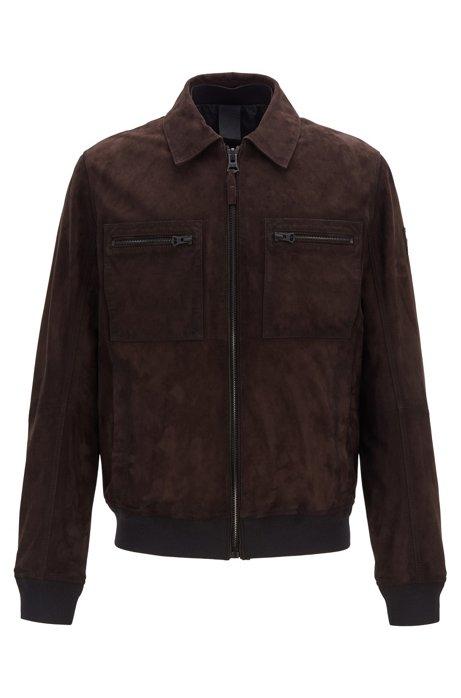 Slim-fit jacket in lightly waxed suede, Dark Brown