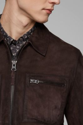 ef4365747 Slim-fit jacket in lightly waxed suede