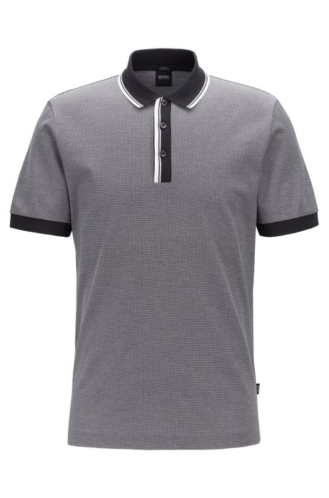 Slim-fit polo shirt with two-tone trims, Black