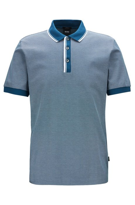Slim-fit polo shirt with two-tone trims, Blue