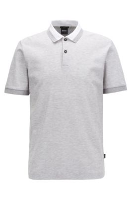 Slim-fit polo shirt in two-tone honeycomb cotton, Open Grey