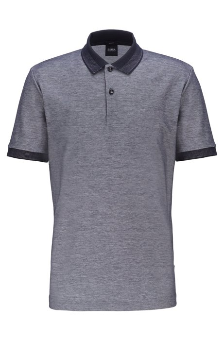 b04c9fb01 BOSS - Slim-fit polo shirt in two-tone honeycomb cotton