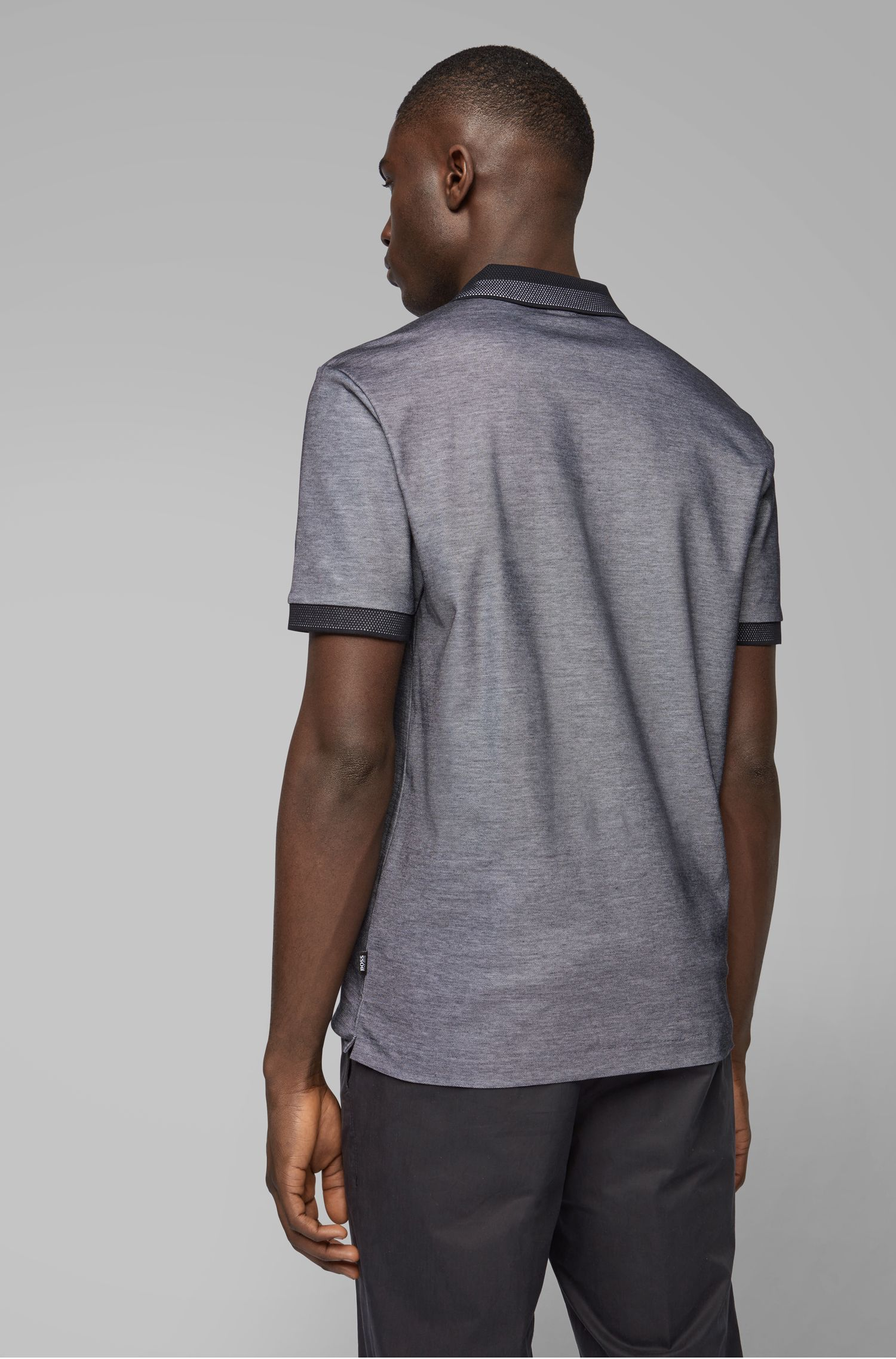 Slim-fit polo shirt in two-tone honeycomb cotton, Dark Blue