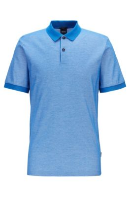 Slim-fit polo shirt in two-tone honeycomb cotton, Blue