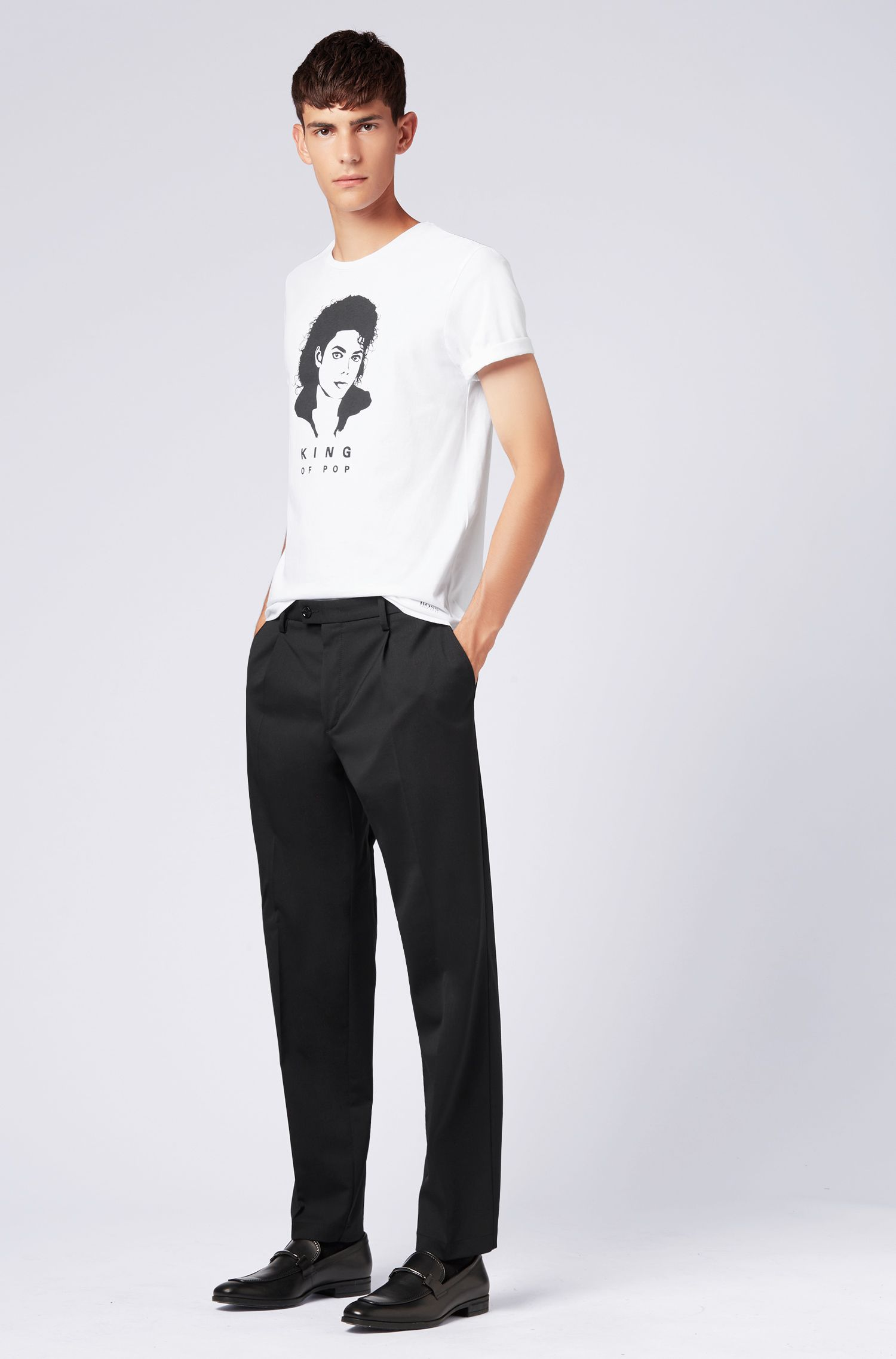 Unisex cotton T-shirt with Michael Jackson iconic print, White
